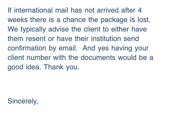 BCITからの返信 英語メール