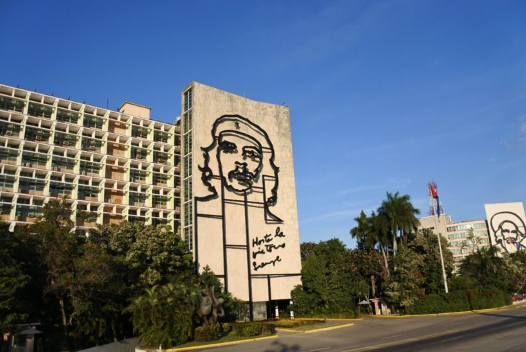 キューバのハバナ 有名なチェ・ゲバラ
