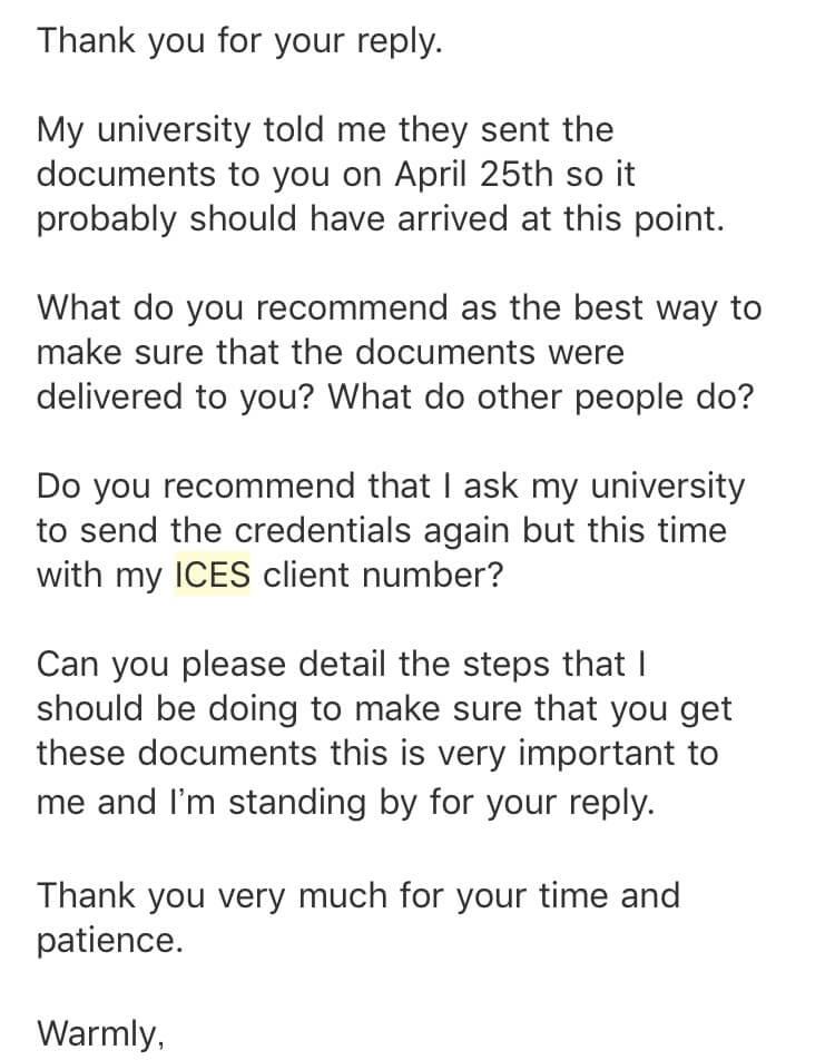 英語 メール 書類が届かない